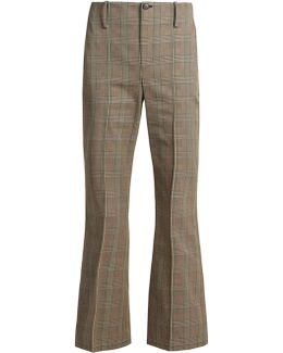 Prince Of Wales-checked Cotton Trousers