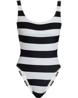 Mio Scoop-back Striped Swimsuit