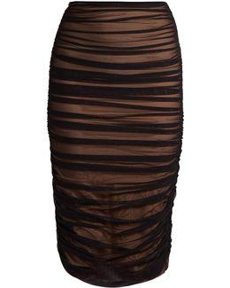 Shirred Ruched Midi Skirt