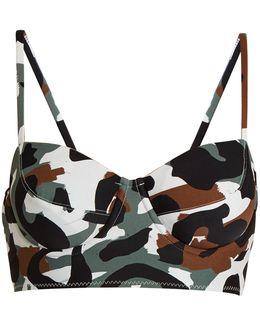 Camo-print Balconette Bikini Top