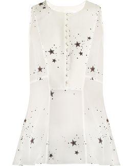 Erin Star-print Sleeveless Silk-georgette Top