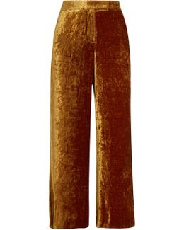 Robbie Cropped Wide-leg Velvet Trousers
