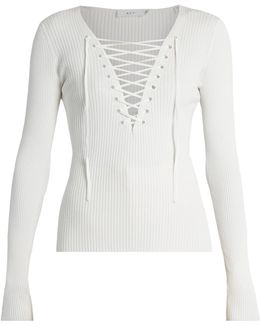 Solan-up Ribbed-knit Top