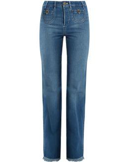 Frayed Hem High-rise Straight-leg Jeans
