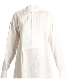 Maine Pleated-bib Vintage-linen Blouse