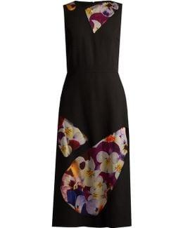 Sleeveless Tulle-panel Wool Midi Dress