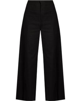 Spanel Wide-leg Cotton-blend Cropped Trousers