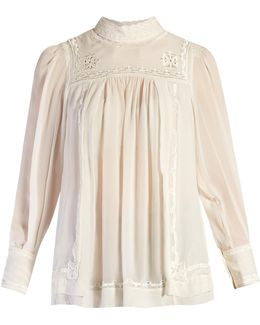 Maeva High-neck Embroidered Silk Blouse