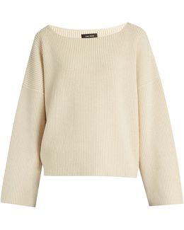 Fly Scoop-neck Cotton And Wool-blend Sweater