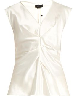 Romney Pleated-front Satin Top
