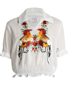 Short-sleeved Embroidered-cotton Top