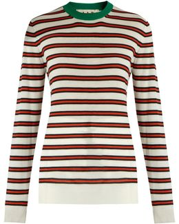 Striped Contrast-collar Cashmere-blend Sweater