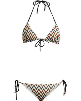 Zigzag-knit Halterneck Triangle Bikini