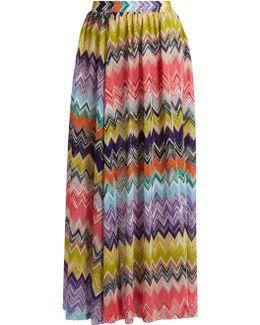 Zigzag-knit Side-slit Maxi Skirt