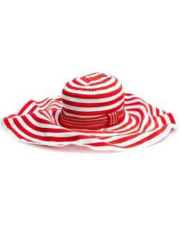 Striped Cotton-blend Wide-brim Hat