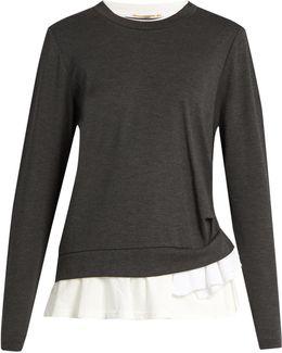 Ruffled-hem Crew-neck Sweater
