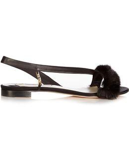 La Croisette Mink-trimmed Satin Flat Sandals
