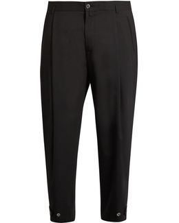 Pleat-front Wool-blend Cropped Trousers