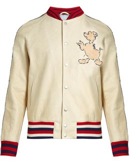 Donald Duck©-embroidered Leather Bomber Jacket