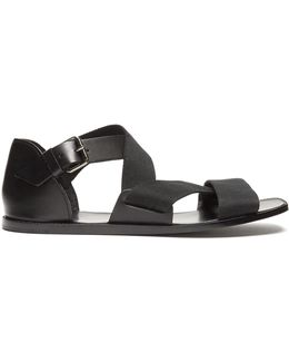 Buckle-fastening Leather Sandals