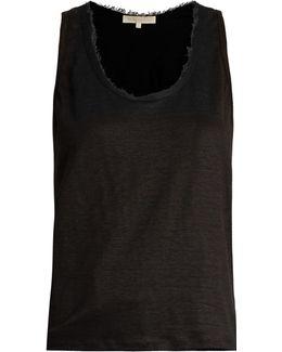 Early Scoop-neck Linen-jersey Tank Top