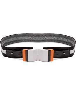 Striped Elasticated-knit Belt