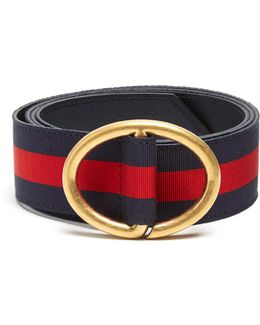 Oval-buckle Web-grosgrain Belt