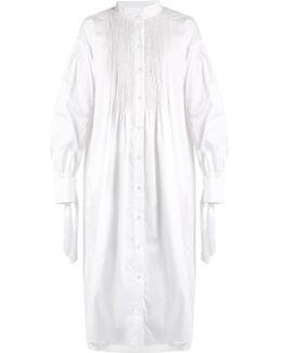 Cuff-tie Smocked Stretch-cotton Shirtdress