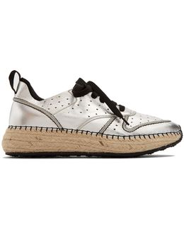 Leather And Espadrille-sole Trainers