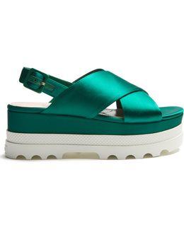 Crossover Satin Flatform Sandals