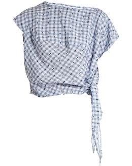 Balloon Short-sleeved Gingham Blouse