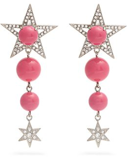 Star Bead And Crystal-embellished Clip-on Earrings