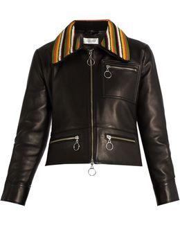 Crochet-collar Leather Biker Jacket