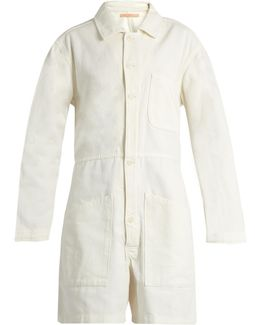 Long-sleeved Cotton-denim Playsuit