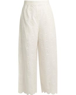 Broderie-anglaise Cropped Trousers