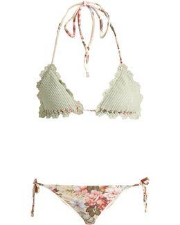 Aerial Crochet And Floral-print Bikini