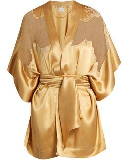 Lace-insert Short Silk-satin Kimono