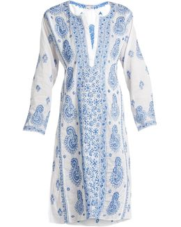 Paisley-embroidered Cotton-voile Kaftan
