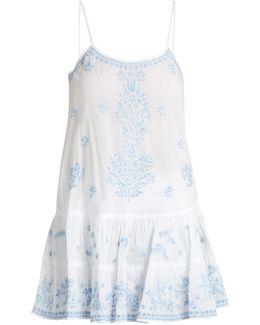 Embroidered Ruffled-hem Cotton-voile Kaftan