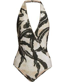 Martinique-print Halterneck Swimsuit