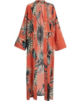 Floral-print Silk Crepe De Chine Cover-up