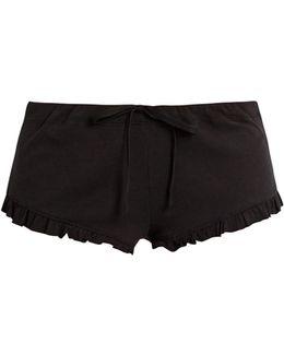 Ruffled-hem Ribbed-cotton Shorts