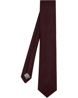 Polka-dot Embroidered Wool And Silk-blend Tie
