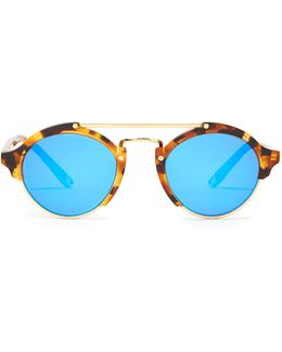 Milan Round-frame Acetate Sunglasses