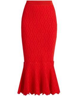 Fluted-hem Diamond-knit Skirt
