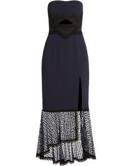 Lace-trimmed Fluted-hem Cady Dress