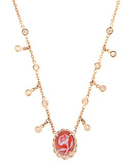 Diamond, Agate & Rose-gold Necklace
