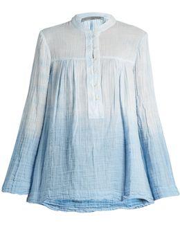 Round-neck Cotton-gauze Blouse