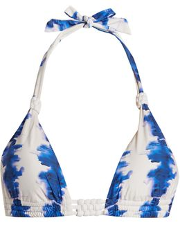 Riviera Abstract-print Triangle Bikini Top