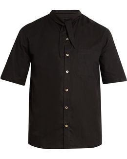 Tie-neck Short-sleeved Cotton Shirt